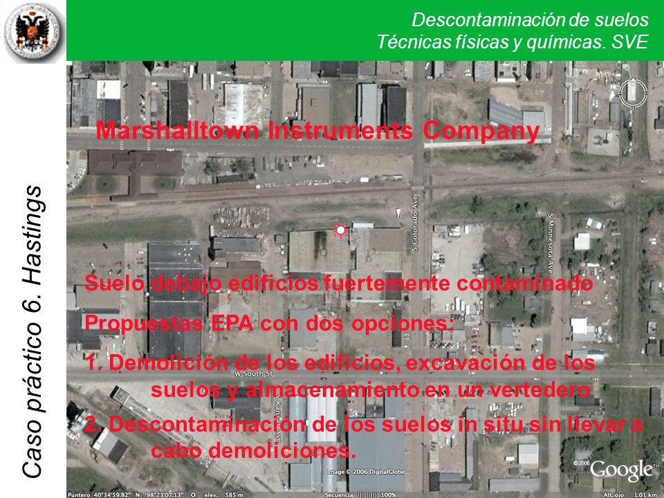 Descontaminación de suelos Técnicas físicas y químicas. SVE Caso práctico 5. Verona Marshalltown Instruments Company Suelo debajo edificios fuertement