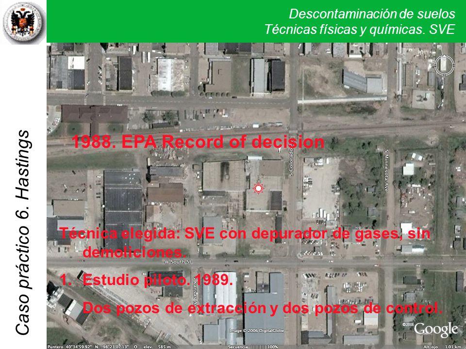 Descontaminación de suelos Técnicas físicas y químicas. SVE Caso práctico 5. Verona Técnica elegida: SVE con depurador de gases, sin demoliciones. 1.E