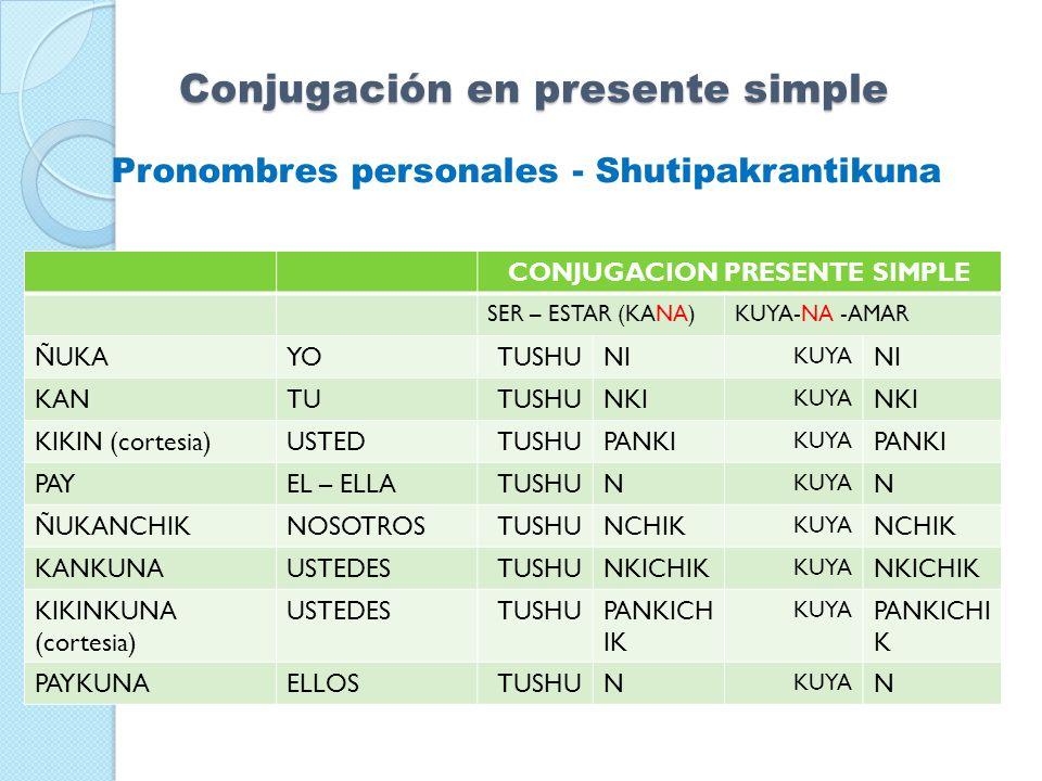 Pronombres personales - Shutipakrantikuna Conjugación en presente simple CONJUGACION PRESENTE SIMPLE SER – ESTAR (KANA)KUYA-NA -AMAR ÑUKAYOTUSHUNI KUY