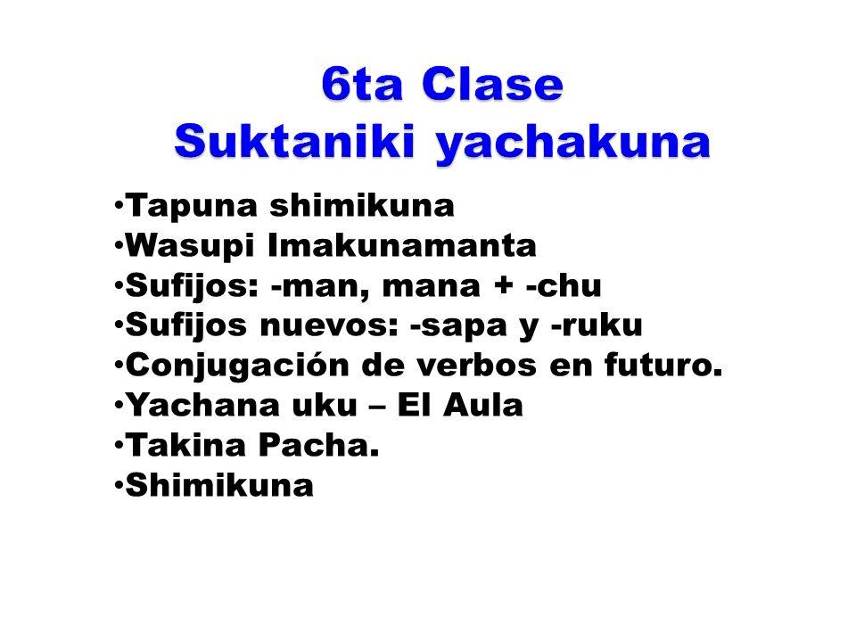 SufijoTapuna shimikuna Tikrachikuna PiQuién MaypiDónde ImaQué TAK+Ima punchapi¿Que día es hoy.