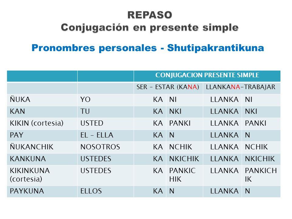 Pronombres personales - Shutipakrantikuna CONJUGACION PRESENTE SIMPLE SER – ESTAR (KANA)LLANKANA-TRABAJAR ÑUKAYOKANILLANKANI KANTUKANKILLANKANKI KIKIN