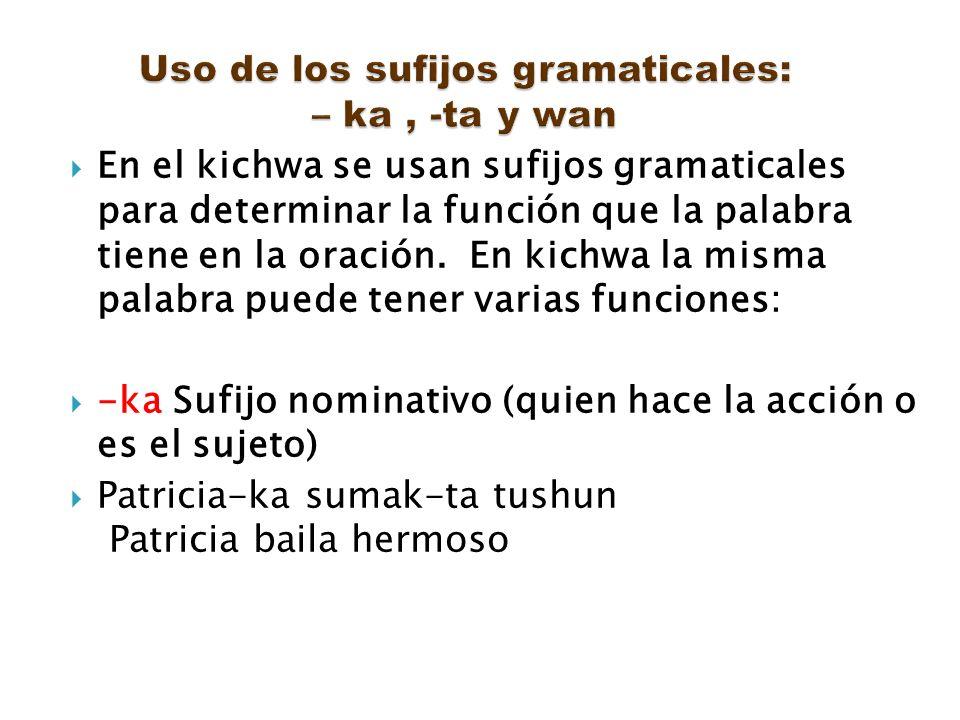 En el kichwa se usan sufijos gramaticales para determinar la función que la palabra tiene en la oración. En kichwa la misma palabra puede tener varias