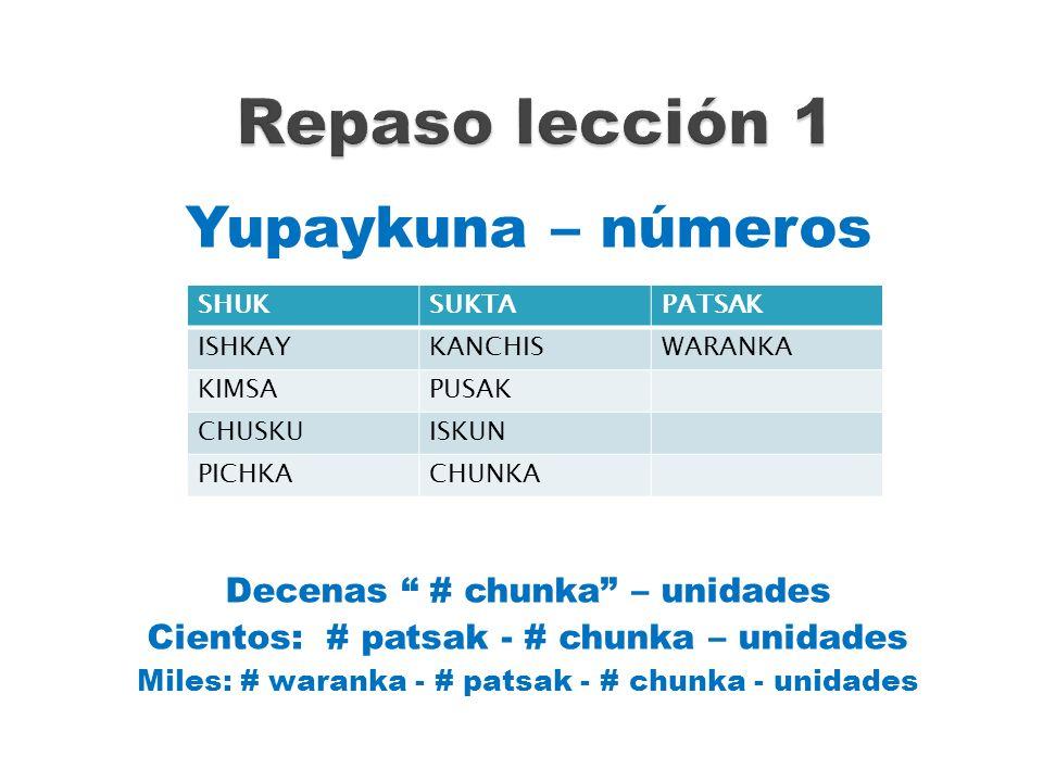 Yupaykuna – números Decenas # chunka – unidades Cientos: # patsak - # chunka – unidades Miles: # waranka - # patsak - # chunka - unidades SHUKSUKTAPAT