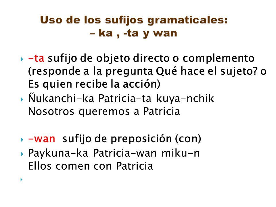 -ta sufijo de objeto directo o complemento (responde a la pregunta Qué hace el sujeto? o Es quien recibe la acción) Ñukanchi-ka Patricia-ta kuya-nchik