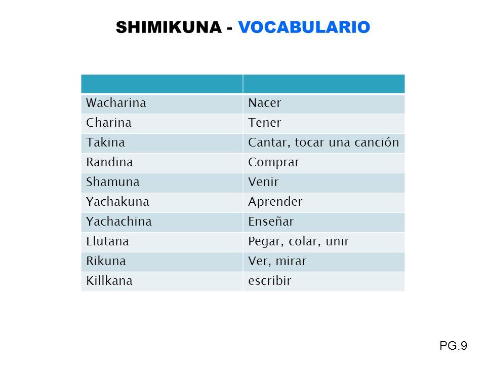 SHIMIKUNA - VOCABULARIO PG.9 WacharinaNacer CharinaTener TakinaCantar, tocar una canción RandinaComprar ShamunaVenir YachakunaAprender YachachinaEnseñ
