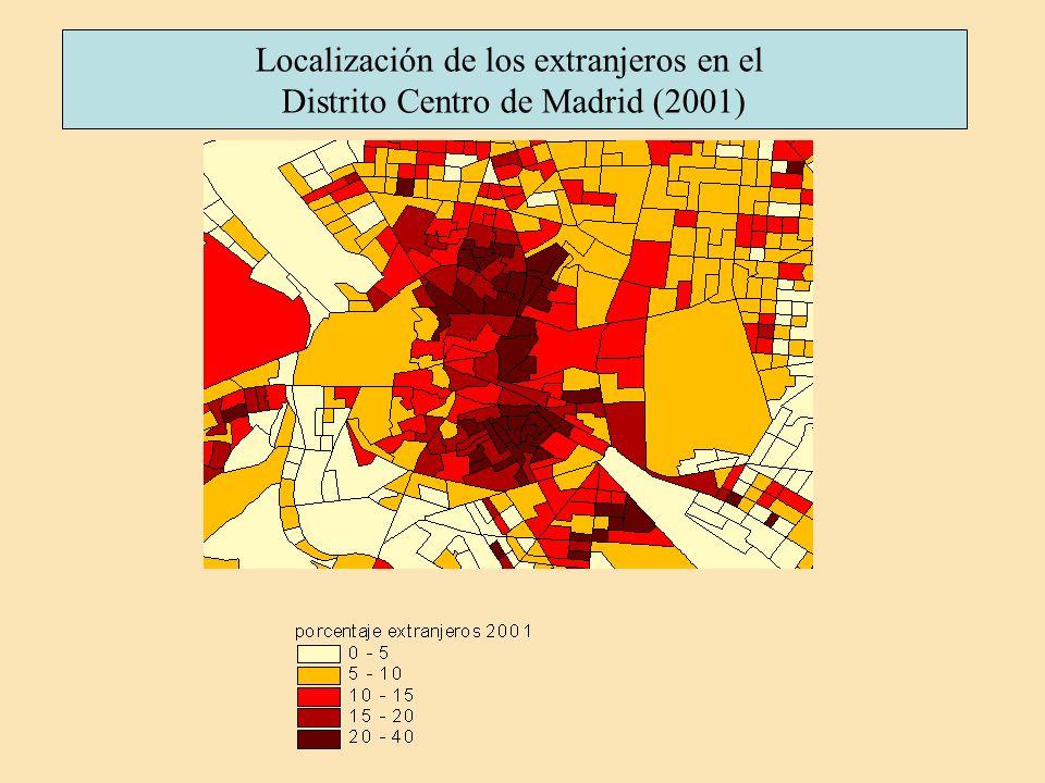 Localización de los extranjeros en el Distrito Centro de Madrid (2001)