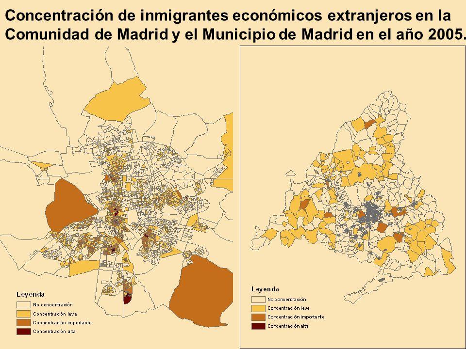 Concentración de inmigrantes económicos extranjeros en la Comunidad de Madrid y el Municipio de Madrid en el año 2005.