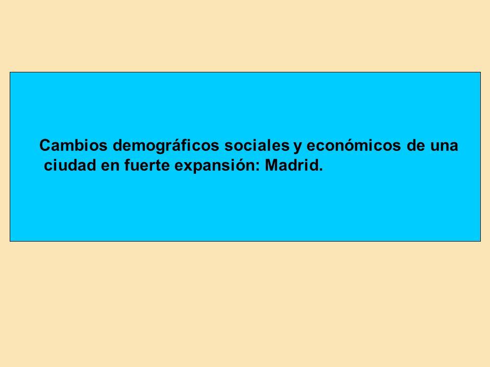 Cambios demográficos sociales y económicos de una ciudad en fuerte expansión: Madrid.