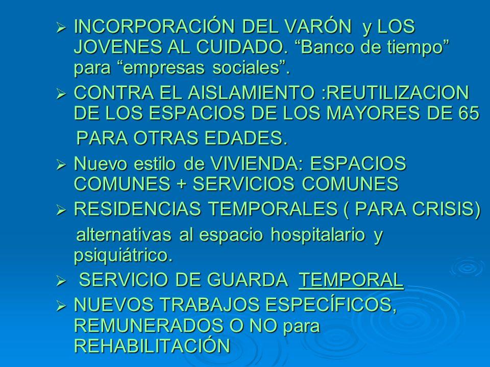 INCORPORACIÓN DEL VARÓN y LOS JOVENES AL CUIDADO. Banco de tiempo para empresas sociales.