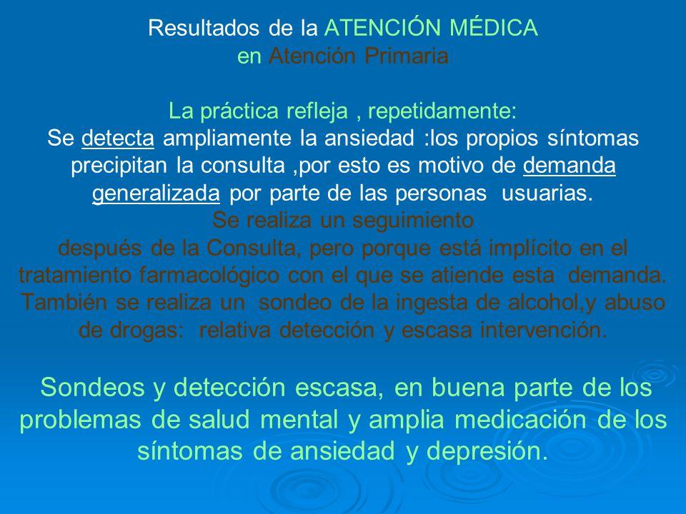 Resultados de la ATENCIÓN MÉDICA en Atención Primaria La práctica refleja, repetidamente: Se detecta ampliamente la ansiedad :los propios síntomas precipitan la consulta,por esto es motivo de demanda generalizada por parte de las personas usuarias.