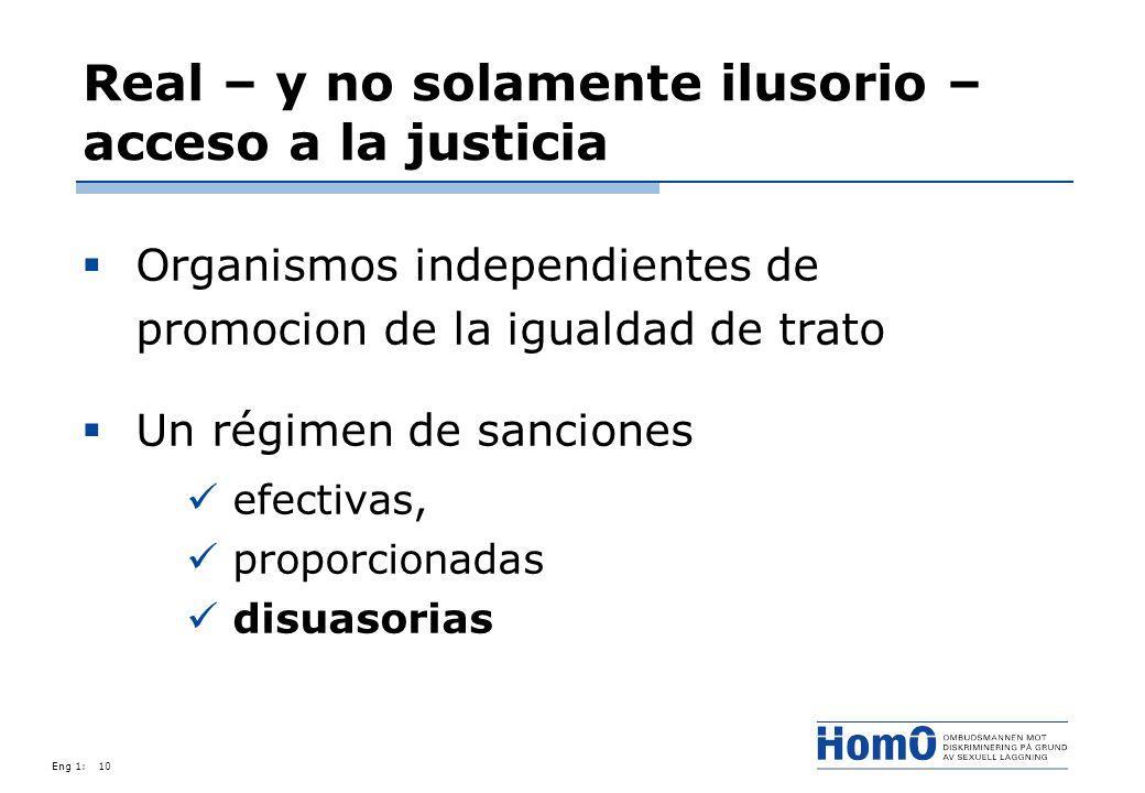 Eng 1:10 Real – y no solamente ilusorio – acceso a la justicia Organismos independientes de promocion de la igualdad de trato Un régimen de sanciones