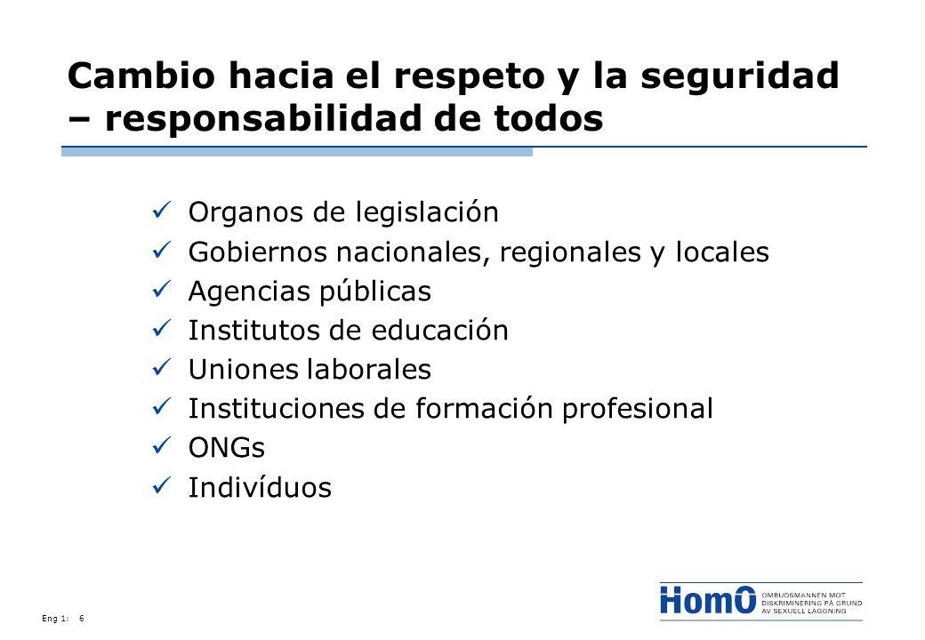 Eng 1:6 Cambio hacia el respeto y la seguridad – responsabilidad de todos Organos de legislación Gobiernos nacionales, regionales y locales Agencias p
