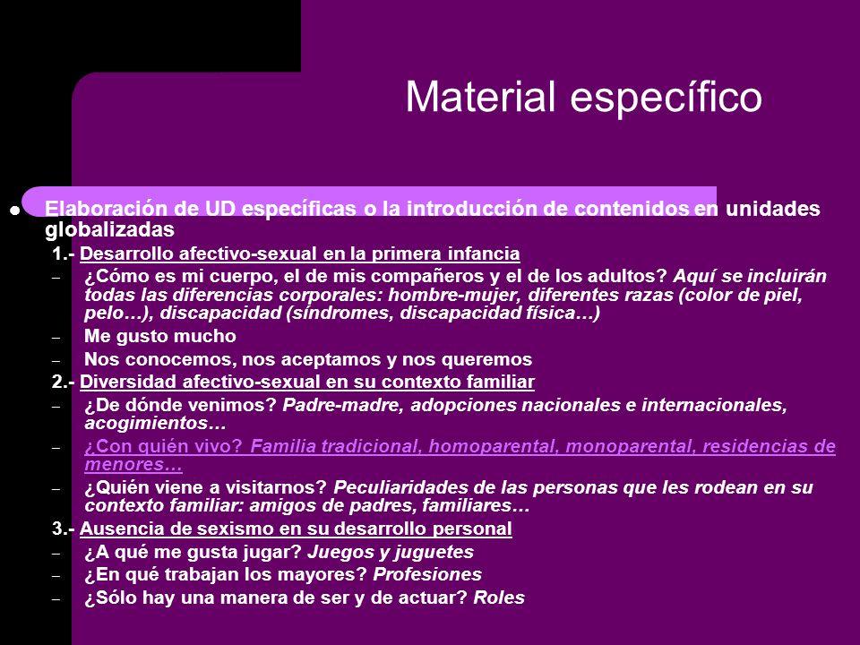 Material específico Elaboración de UD específicas o la introducción de contenidos en unidades globalizadas 1.- Desarrollo afectivo-sexual en la primera infancia – ¿Cómo es mi cuerpo, el de mis compañeros y el de los adultos.