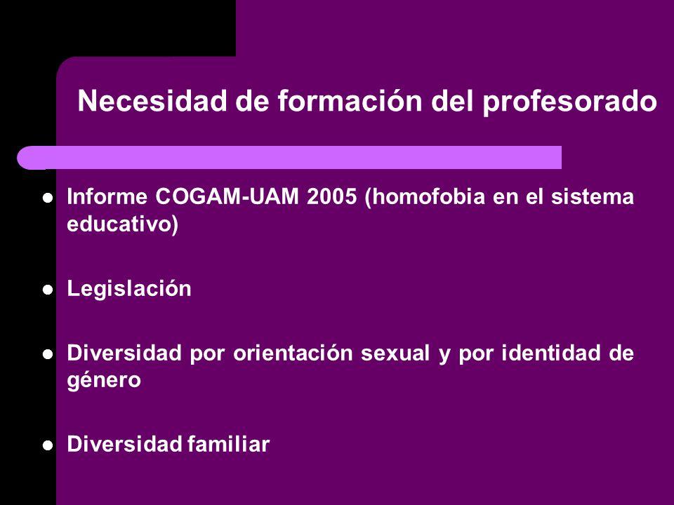 Necesidad de formación del profesorado Informe COGAM-UAM 2005 (homofobia en el sistema educativo) Legislación Diversidad por orientación sexual y por identidad de género Diversidad familiar
