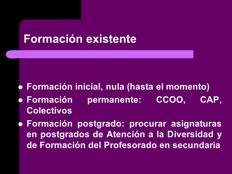 Formación existente Formación inicial, nula (hasta el momento) Formación permanente: CCOO, CAP, Colectivos Formación postgrado: procurar asignaturas en postgrados de Atención a la Diversidad y de Formación del Profesorado en secundaria