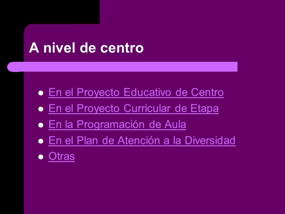 A nivel de centro En el Proyecto Educativo de Centro En el Proyecto Curricular de Etapa En la Programación de Aula En el Plan de Atención a la Diversidad Otras
