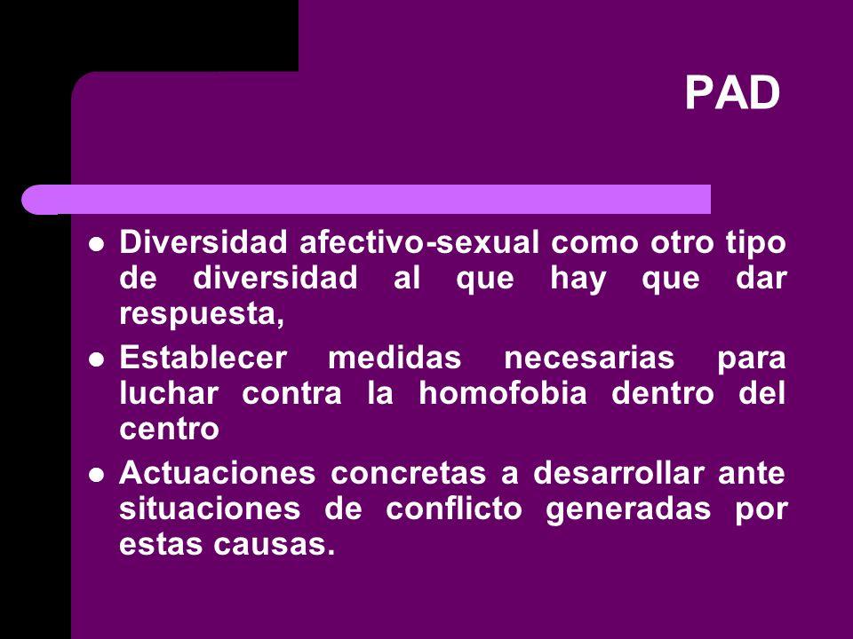 PAD Diversidad afectivo-sexual como otro tipo de diversidad al que hay que dar respuesta, Establecer medidas necesarias para luchar contra la homofobia dentro del centro Actuaciones concretas a desarrollar ante situaciones de conflicto generadas por estas causas.