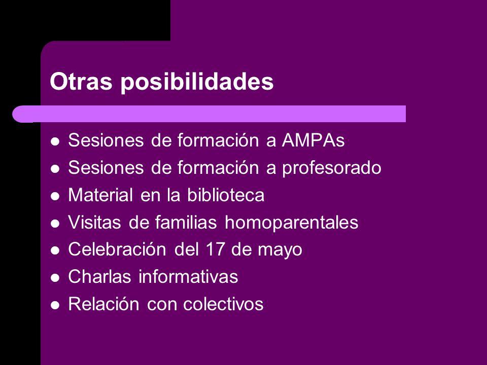 Otras posibilidades Sesiones de formación a AMPAs Sesiones de formación a profesorado Material en la biblioteca Visitas de familias homoparentales Celebración del 17 de mayo Charlas informativas Relación con colectivos