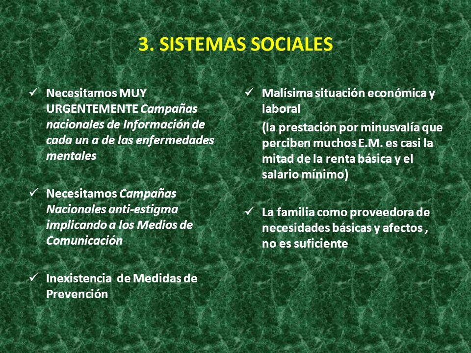 3. SISTEMAS SOCIALES Necesitamos MUY URGENTEMENTE Campañas nacionales de Información de cada un a de las enfermedades mentales Necesitamos Campañas Na