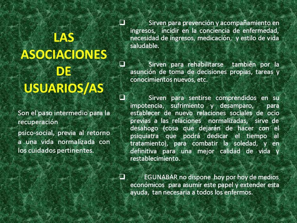 LAS ASOCIACIONES DE USUARIOS/AS Sirven para prevención y acompañamiento en ingresos, incidir en la conciencia de enfermedad, necesidad de ingresos, me