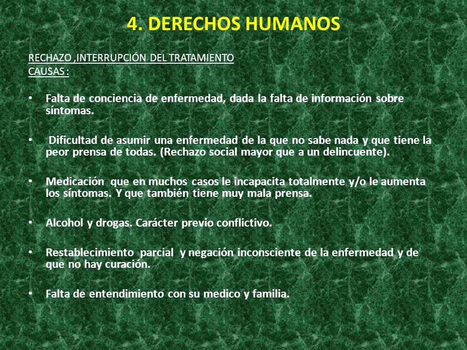 4. DERECHOS HUMANOS RECHAZO,INTERRUPCIÓN DEL TRATAMIENTO CAUSAS : Falta de conciencia de enfermedad, dada la falta de información sobre síntomas. Difi