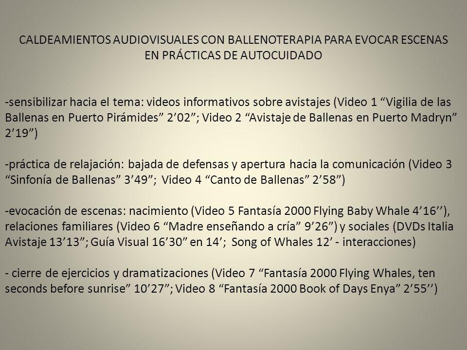 CALDEAMIENTOS AUDIOVISUALES CON BALLENOTERAPIA PARA EVOCAR ESCENAS EN PRÁCTICAS DE AUTOCUIDADO -sensibilizar hacia el tema: videos informativos sobre