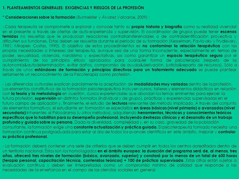 1. PLANTEAMIENTOS GENERALES: EXIGENCIAS Y RIESGOS DE LA PROFESIÓN * Consideraciones sobre la formación (Burmeister y Álvarez Valcarce, 2009) : - Cada