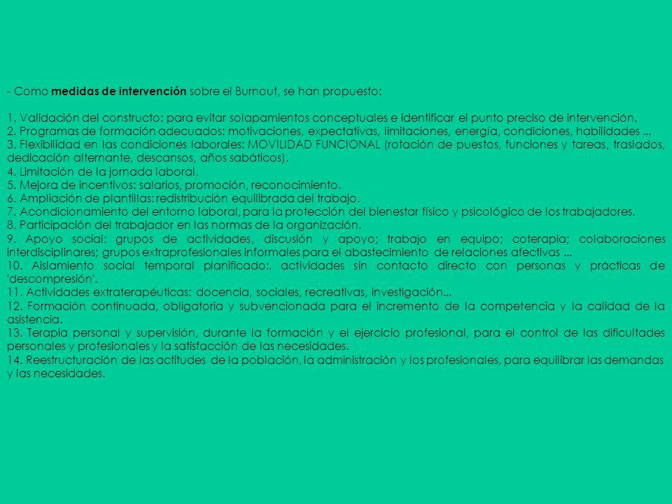 - Como medidas de intervención sobre el Burnout, se han propuesto: 1. Validación del constructo: para evitar solapamientos conceptuales e identificar