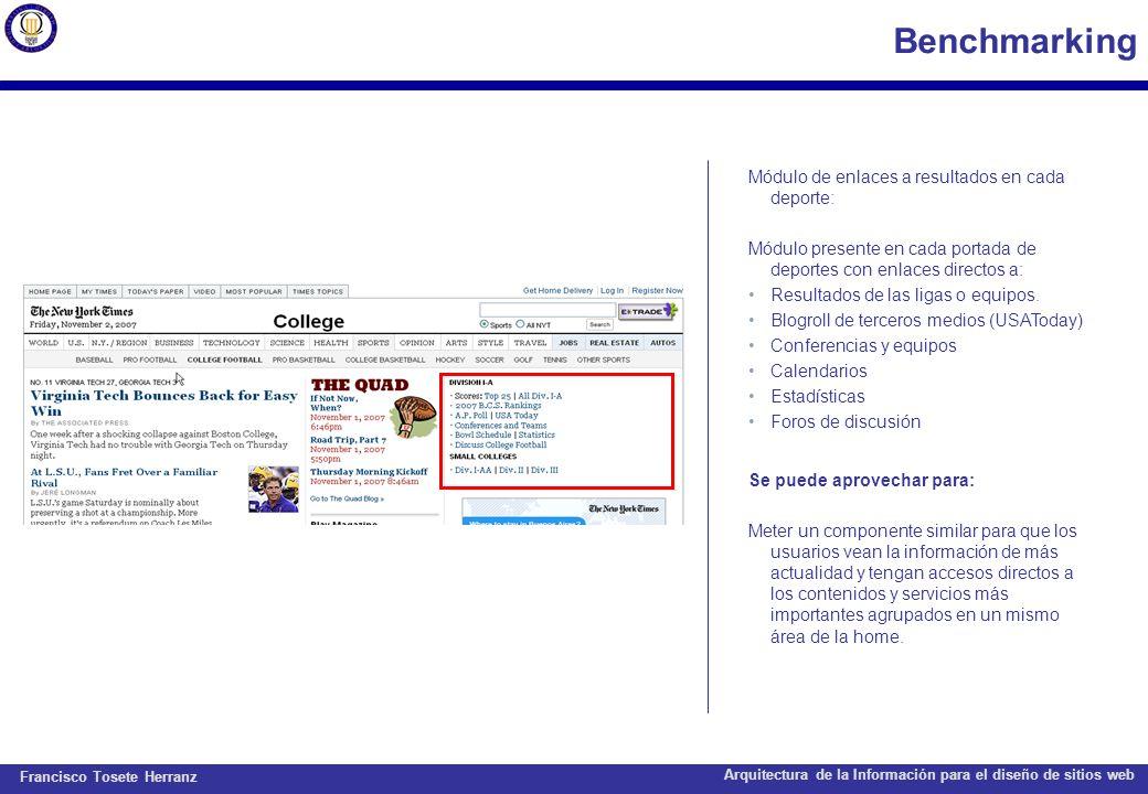 Francisco Tosete Herranz Arquitectura de la Información para el diseño de sitios web Benchmarking Módulo de enlaces a resultados en cada deporte: Módu