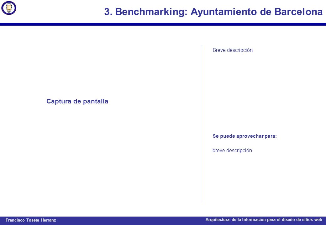 Francisco Tosete Herranz Arquitectura de la Información para el diseño de sitios web 3.