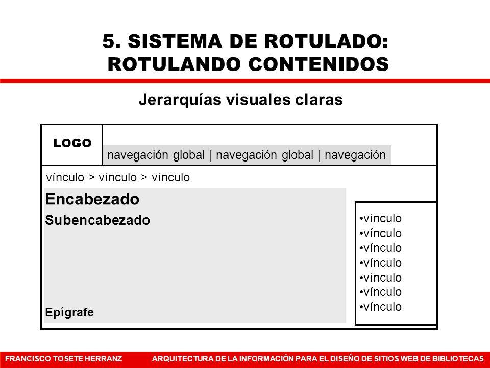 FRANCISCO TOSETE HERRANZARQUITECTURA DE LA INFORMACIÓN PARA EL DISEÑO DE SITIOS WEB DE BIBLIOTECAS 5. SISTEMA DE ROTULADO: ROTULANDO CONTENIDOS víncul