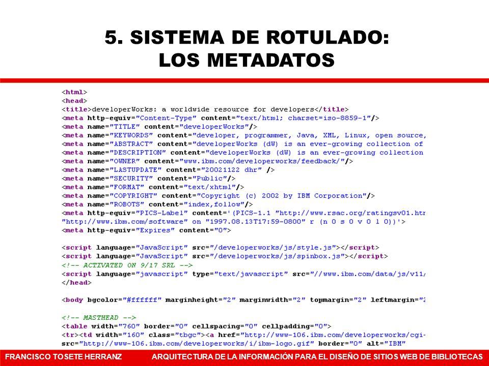 FRANCISCO TOSETE HERRANZARQUITECTURA DE LA INFORMACIÓN PARA EL DISEÑO DE SITIOS WEB DE BIBLIOTECAS 5. SISTEMA DE ROTULADO: LOS METADATOS