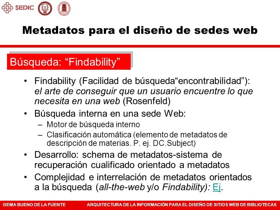 GEMA BUENO DE LA FUENTEARQUITECTURA DE LA INFORMACIÓN PARA EL DISEÑO DE SITIOS WEB DE BIBLIOTECAS Metadatos para el diseño de sedes web Findability (F