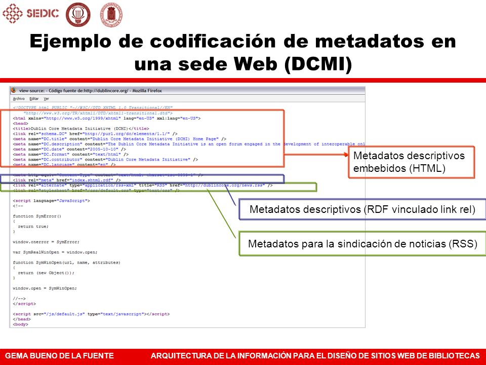 GEMA BUENO DE LA FUENTEARQUITECTURA DE LA INFORMACIÓN PARA EL DISEÑO DE SITIOS WEB DE BIBLIOTECAS Ejemplo de codificación de metadatos en una sede Web