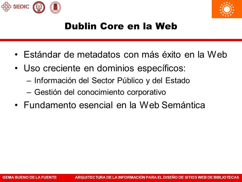 GEMA BUENO DE LA FUENTEARQUITECTURA DE LA INFORMACIÓN PARA EL DISEÑO DE SITIOS WEB DE BIBLIOTECAS Dublin Core en la Web Estándar de metadatos con más