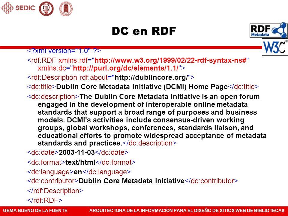 GEMA BUENO DE LA FUENTEARQUITECTURA DE LA INFORMACIÓN PARA EL DISEÑO DE SITIOS WEB DE BIBLIOTECAS DC en RDF Dublin Core Metadata Initiative (DCMI) Hom