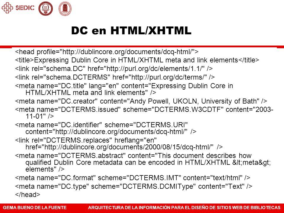 GEMA BUENO DE LA FUENTEARQUITECTURA DE LA INFORMACIÓN PARA EL DISEÑO DE SITIOS WEB DE BIBLIOTECAS DC en HTML/XHTML Expressing Dublin Core in HTML/XHTM