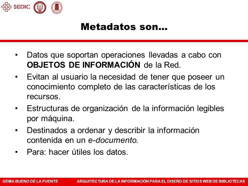 GEMA BUENO DE LA FUENTEARQUITECTURA DE LA INFORMACIÓN PARA EL DISEÑO DE SITIOS WEB DE BIBLIOTECAS Metadatos son... Datos que soportan operaciones llev