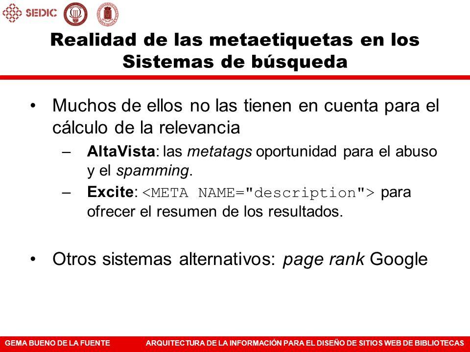 GEMA BUENO DE LA FUENTEARQUITECTURA DE LA INFORMACIÓN PARA EL DISEÑO DE SITIOS WEB DE BIBLIOTECAS Realidad de las metaetiquetas en los Sistemas de bús