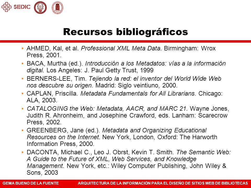 GEMA BUENO DE LA FUENTEARQUITECTURA DE LA INFORMACIÓN PARA EL DISEÑO DE SITIOS WEB DE BIBLIOTECAS AHMED, Kal, et al. Professional XML Meta Data. Birmi