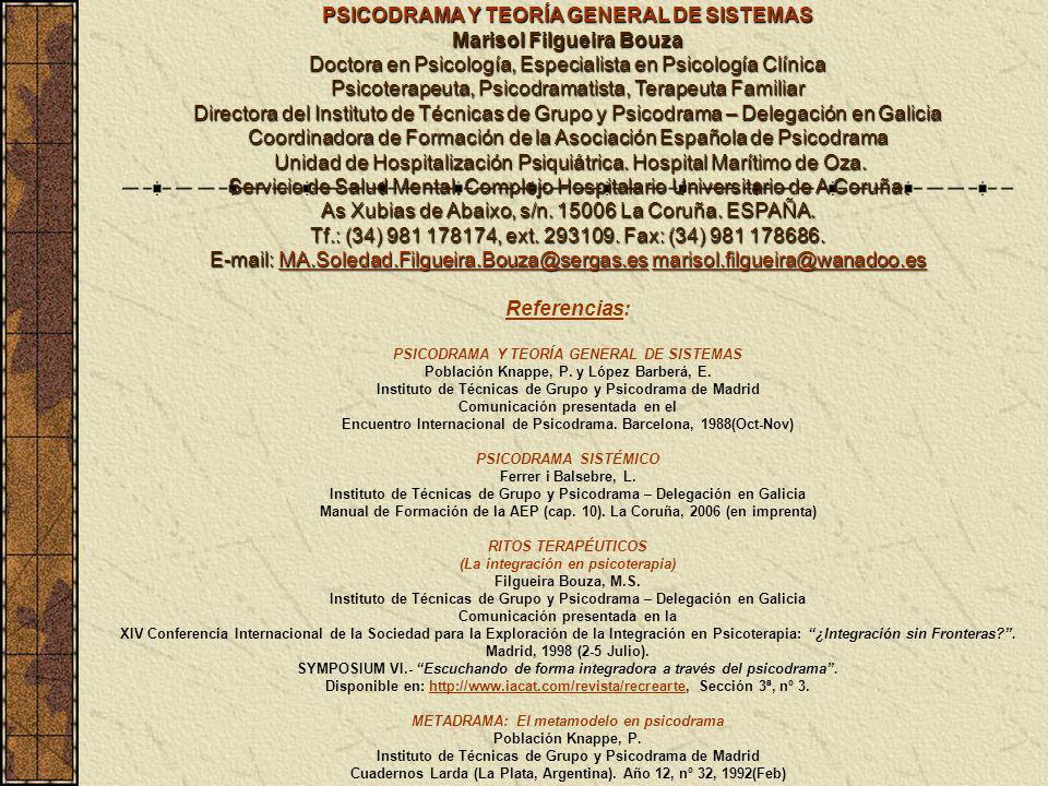 PSICODRAMA Y TEORÍA GENERAL DE SISTEMAS Marisol Filgueira Bouza Doctora en Psicología, Especialista en Psicología Clínica Psicoterapeuta, Psicodramati
