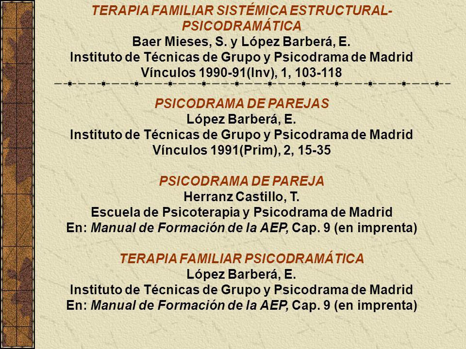 TERAPIA FAMILIAR SISTÉMICA ESTRUCTURAL- PSICODRAMÁTICA Baer Mieses, S. y López Barberá, E. Instituto de Técnicas de Grupo y Psicodrama de Madrid Víncu