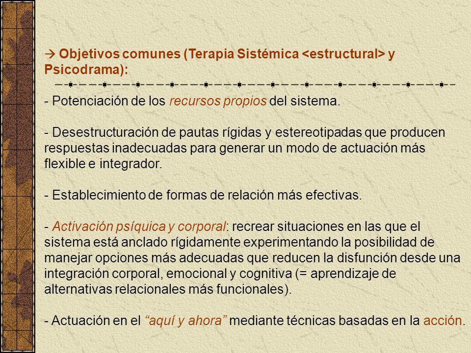 Objetivos comunes (Terapia Sistémica y Psicodrama): - Potenciación de los recursos propios del sistema. - Desestructuración de pautas rígidas y estere