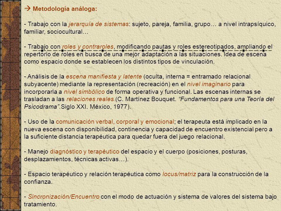 Metodología análoga: - Trabajo con la jerarquía de sistemas: sujeto, pareja, familia, grupo… a nivel intrapsíquico, familiar, sociocultural… - Trabajo