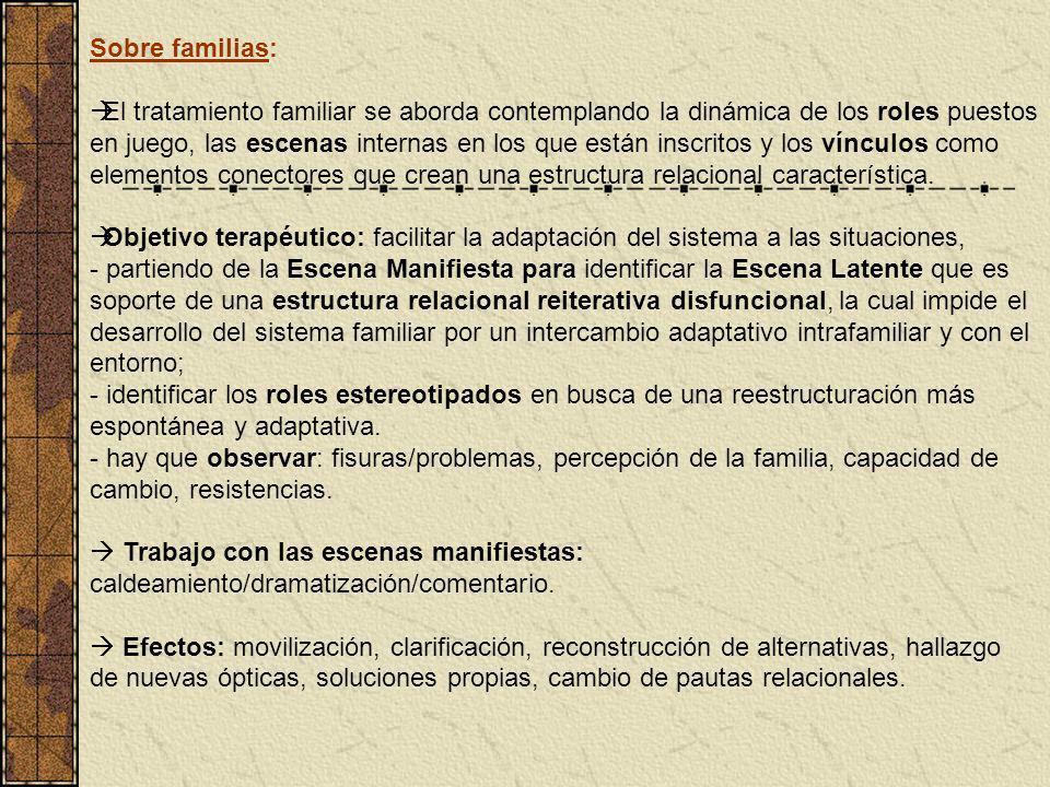 Sobre familias: El tratamiento familiar se aborda contemplando la dinámica de los roles puestos en juego, las escenas internas en los que están inscri