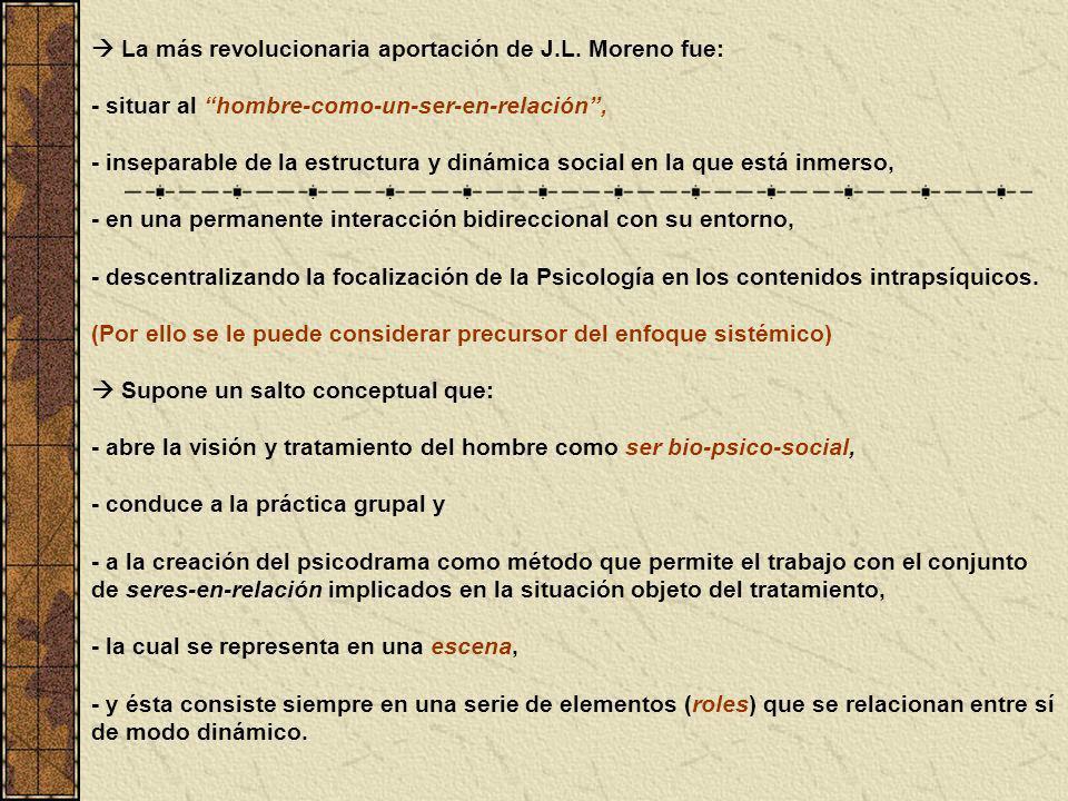 La más revolucionaria aportación de J.L. Moreno fue: - situar al hombre-como-un-ser-en-relación, - inseparable de la estructura y dinámica social en l