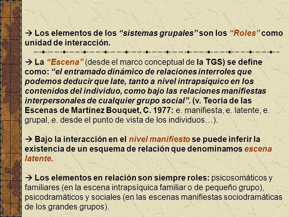 Los elementos de los sistemas grupales son los Roles como unidad de interacción. La Escena (desde el marco conceptual de la TGS) se define como: el en