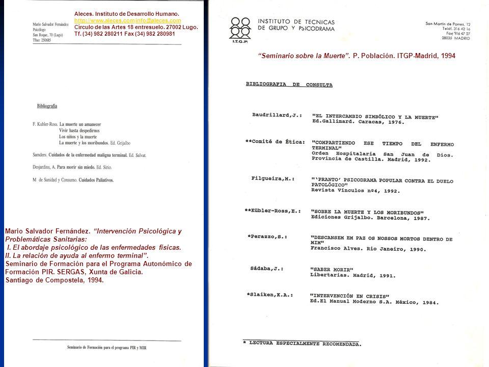 Seminario sobre la Muerte. P. Población. ITGP-Madrid, 1994