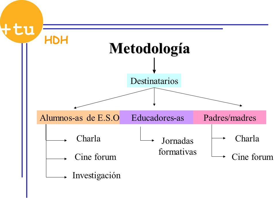 Metodología Destinatarios Alumnos-as de E.S.O.Educadores-asPadres/madres Charla Cine forum Jornadas formativas Charla Cine forum HDH Investigación