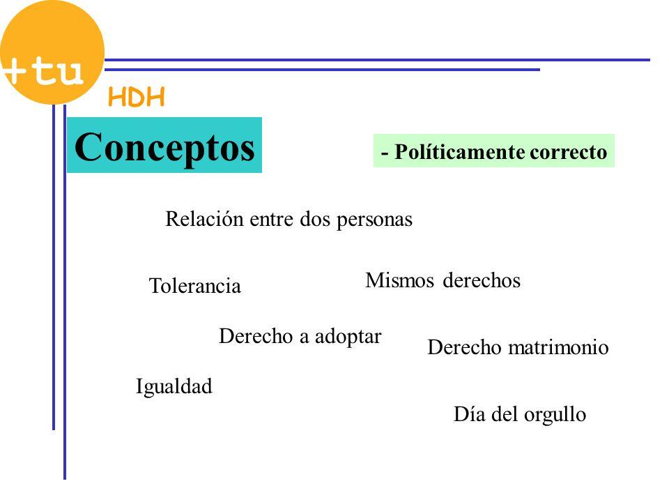 Conceptos - Políticamente correcto Relación entre dos personas Tolerancia Igualdad Mismos derechos Derecho matrimonio Derecho a adoptar Día del orgull